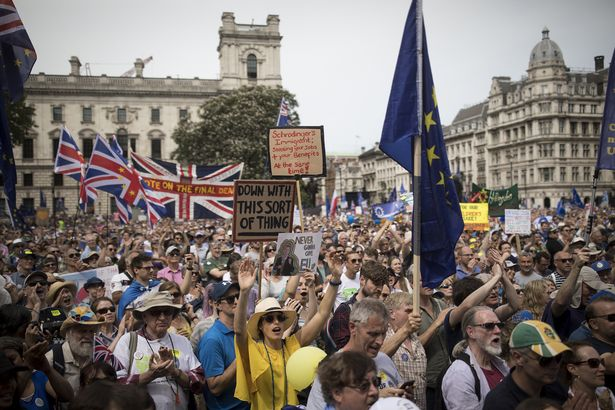 The People's Vote demonstration against Brexit on June 23, 2018 in London