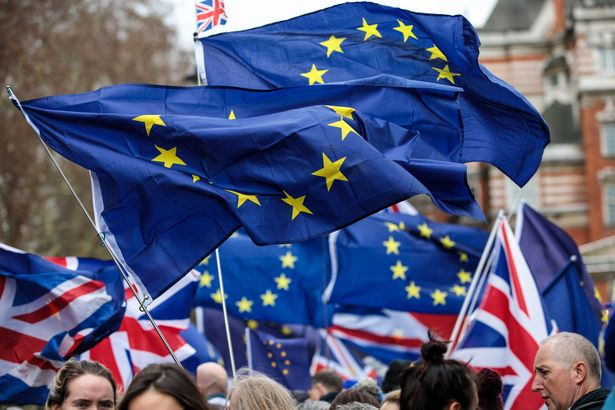 LONDON, ENGLAND - DECEMBER 10: Anti Brexit protesters demonstrate with EU flags outside the Houses of Parliament, Westminster on December 10, 2018 in London, England