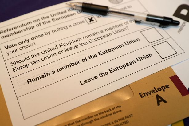 KNUTSFORD, UNITED KINGDOM - JUNE 01: In this photo illustration a European Union referendum postal voting form, waits to be signed on June 1, 2016 in Knutsford, United Kingdom
