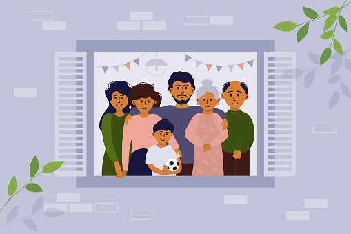 House facade, big family and stay home concept
