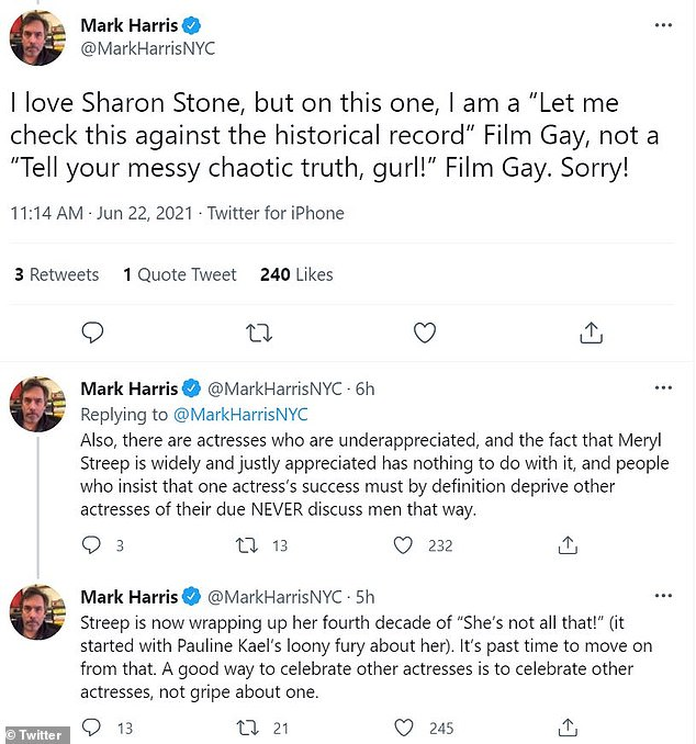 Check the record:Journalist and film writer Mark Harris said Streep simply has more great films that Stone and wrote that it wasn't her fault if other actresses were undervalued