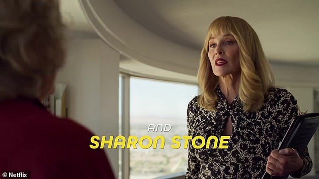Meaningful phrasing: Schneller asked about when Stone 'finally got to work with Meryl Streep' on Steven Soderbergh's The Laundromat, but she thought the question illustrated her point; Stone and Streep in The Laundromat