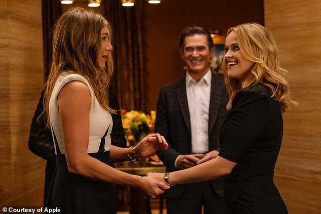 Back at it:The second season of her Apple TV+ series The Morning Show debuts in September. Seen here with Billy Crudup and Reese Witherspoon