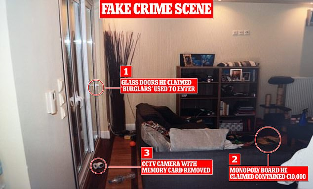 The living room of the house where Caroline Crouch was killed, including 'clues' planted by husbandBabis Anagnostopoulos as he tried to convince police they had been burgled