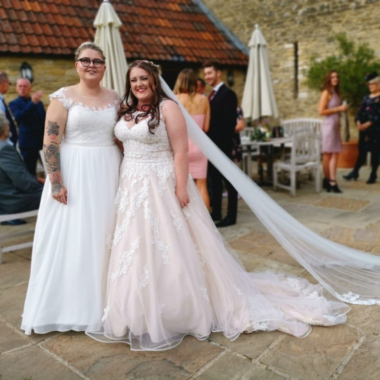 Becky and Georgia Ashford-Singer on their wedding day in Sept 2019