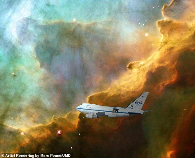 A team led by UMD astronomers created the first clear image of an expanding bubble of stellar gas where stars are born using data from NASA's SOFIA telescope on board a heavily modified 747 jet as seen here in this artist's rendering
