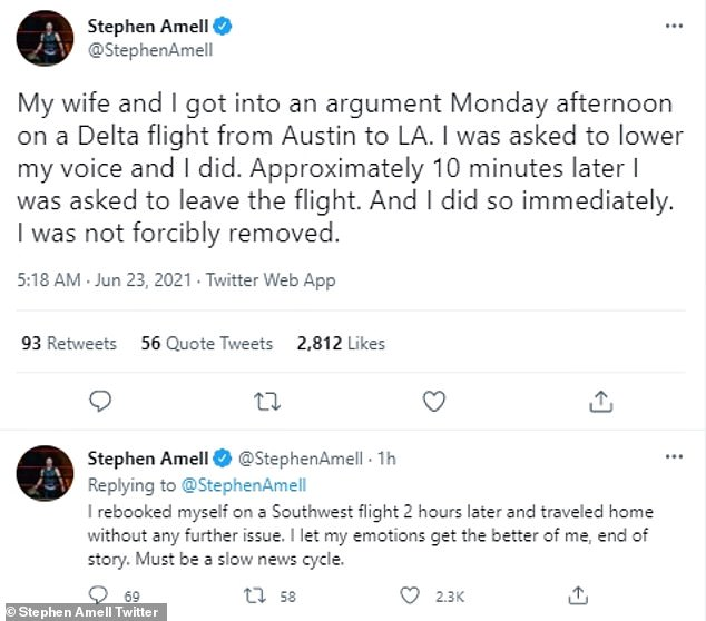 Talk about it: Amell took to Twitter on Wednesday morning and admitted he let his emotions get the best of him as he downplayed the event to his two million followers