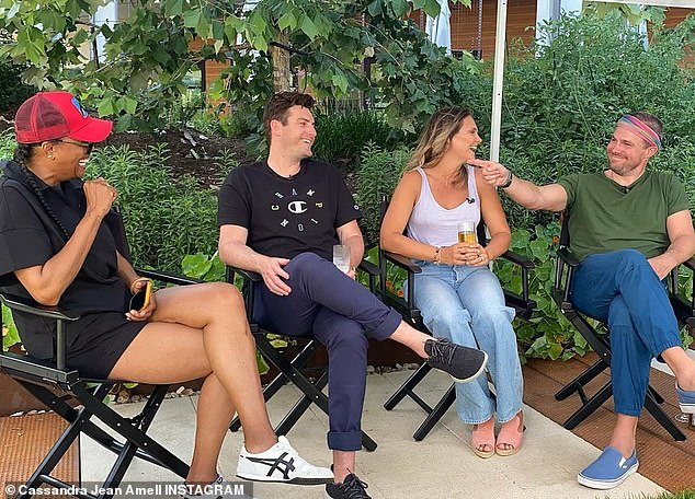 Better days?Amell and his wife were in town for the ATX Festival and were seen laughing with Aisha Tyler at the panel for their indie flick, Speech & Debate