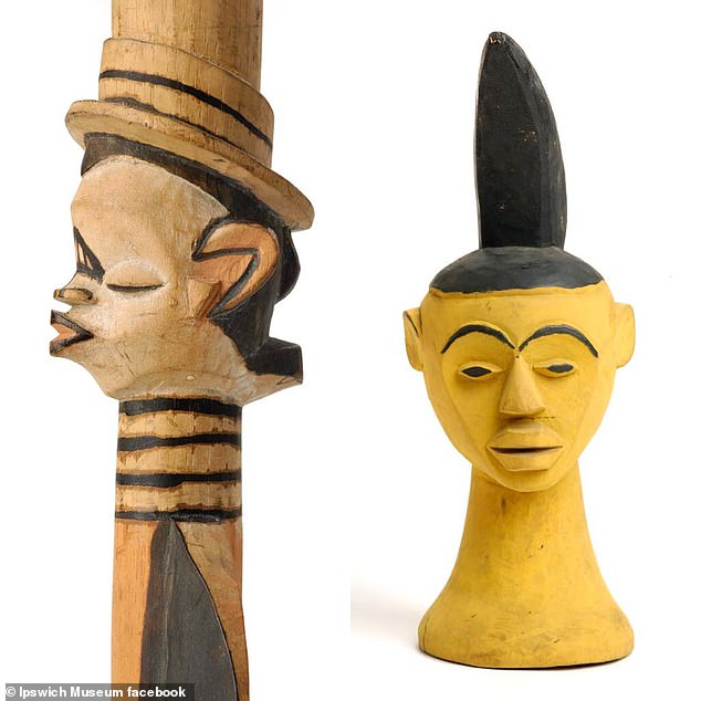 Staff at Ipswich Museum - which is one of six sites run by the Colchester and Ipswich Museums Service - are said to have already identified some artefacts of 'questionable provenance'. Pictured: Artefacts from Nigeria which are on display at Ipswich Museum