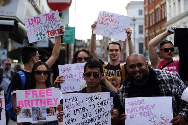 #FreeBritney activists protest in Old Compton Street of London's Soho