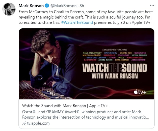 Exciting stuff:Mark, 45, took to Twitter to post a clip of the upcoming show which he captioned: 'THIS IS ONE OF MY PROUDEST ACHIEVEMENTS.'