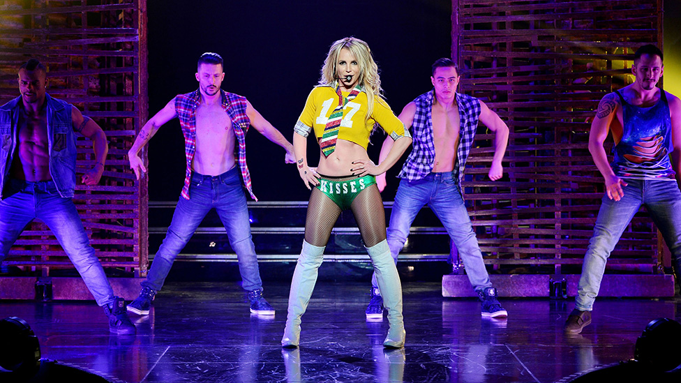 Spears onstage at the Planet Hollywood resort in Las Vegas