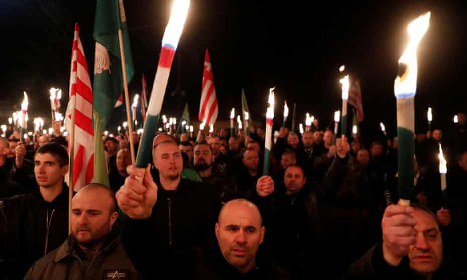 A far-right demonstration in Hungary in February 2020.