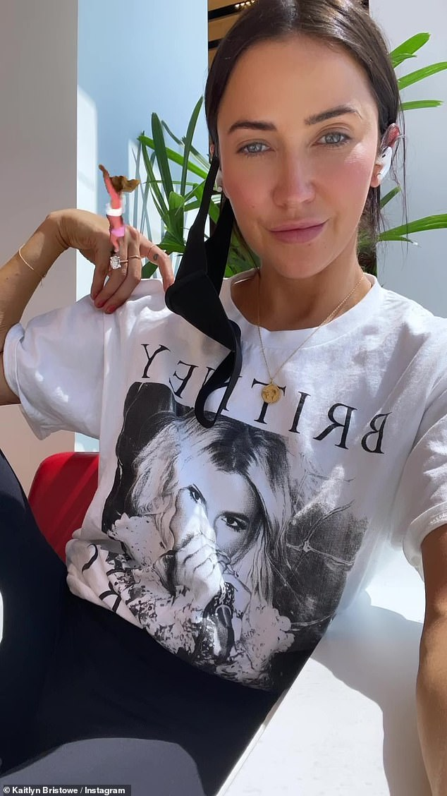 Bachelorette co-host and former star Kaitlyn Bristowe shared a selfie in which she posed wearing a Britney t-shirt
