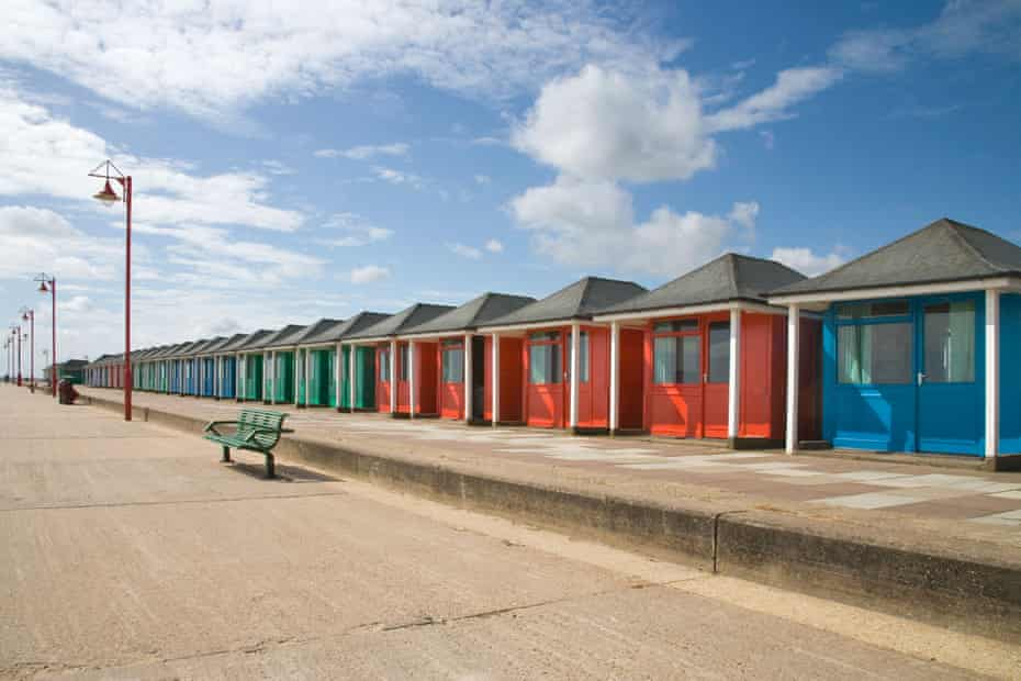Colourful huts on the seafront at Mablethorpe on the Lincolnshire coast, UK.