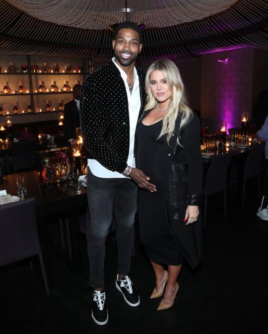 Tristan Thompson and pregnant Khloe Kardashian in 2018