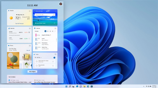 The new Windows 11 widgets screen. (Credits: PA)