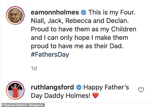 Sweet: Eamonn shared a lovely black and white image surrounded by his daughter and three sons, with wife Ruth Langsford wishing him a Happy Father's Day in the comments