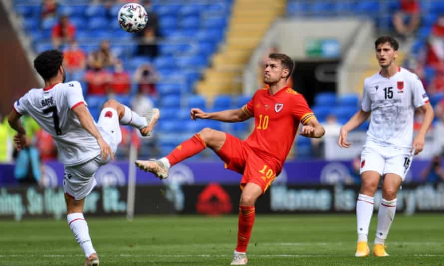 Aaron Ramsey in action for Wales against Albania last Saturday.