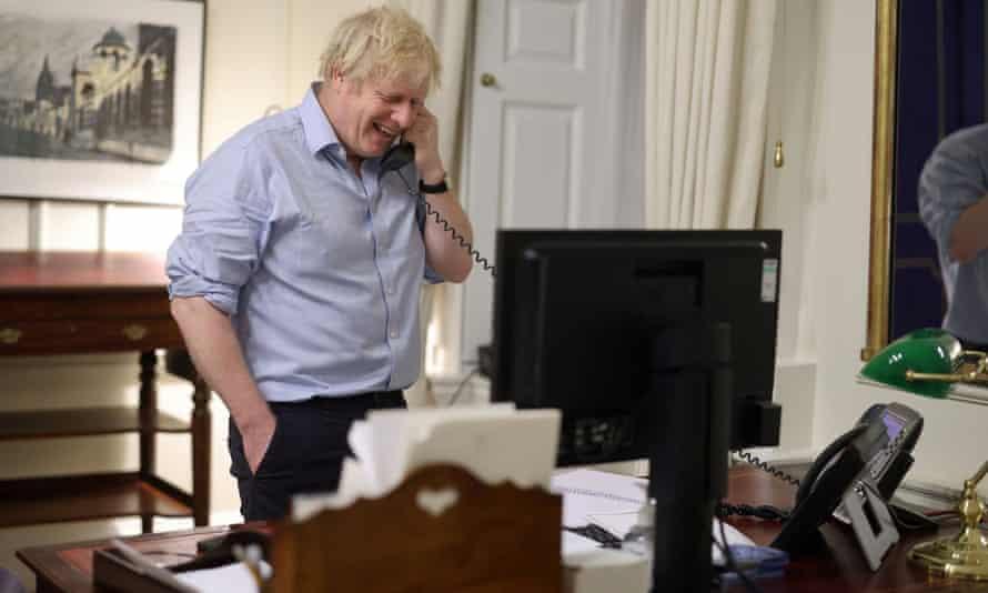 Boris Johnson speaks to Joe Biden from London, in January.