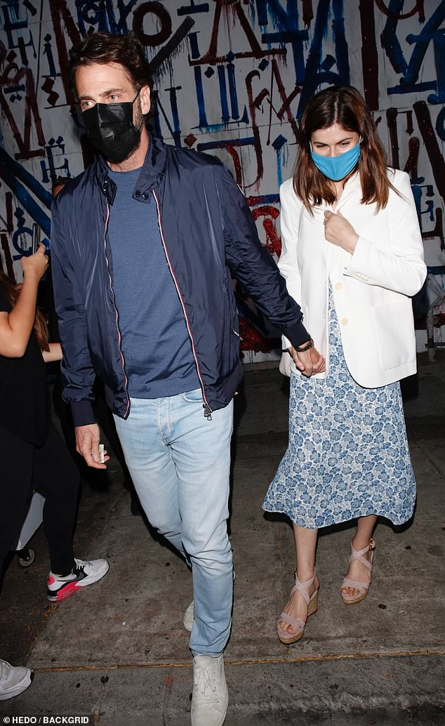 Date night: Alexandra Daddario, 35, and boyfriend Andrew Form, 52, stepped out for a dinner date at the celebrity hotspot, Craig's in West Hollywood on Saturday