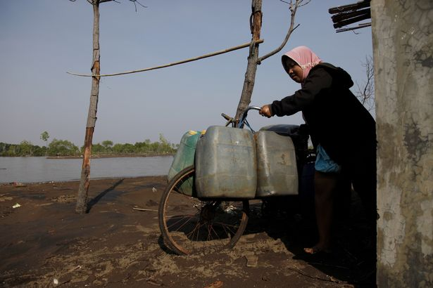A woman carrying clean water on a bicycle in Central Java (file photo)