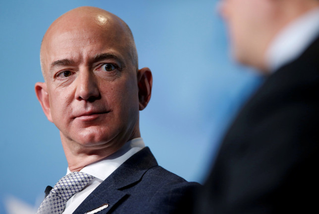 Jeff Bezos, founder of Blue Origin and CEO of Amazon, speaks about the future plans of Blue Origin during an address to attendees at Access Intelligence's Satellite 2017 conference (Reuters)