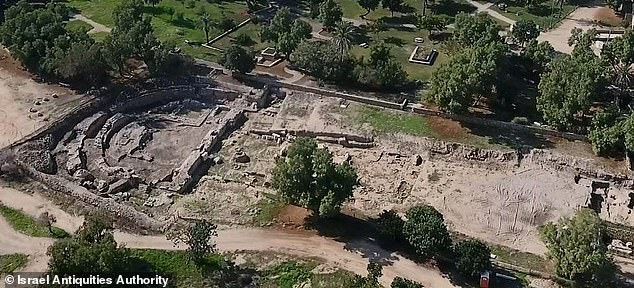 Pictured: An aerial view of the Ashkelon basilica. Archaeologists with the IAA are working to restore the structure, destroyed by earthquake in 363, and open it to the public