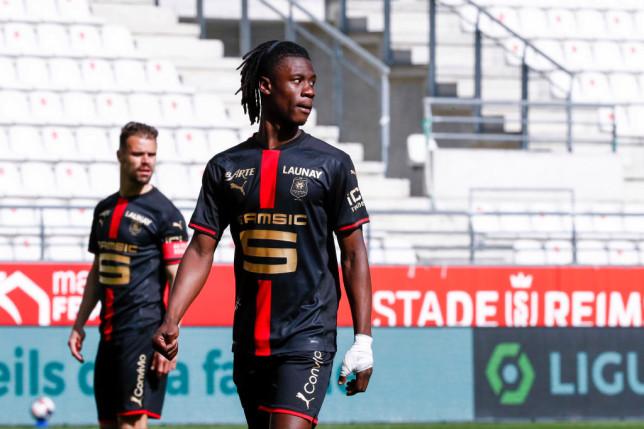 Arsenal transfer target Eduardo Camavinga looks on during Stade de Reims' Ligue clash with Rennes