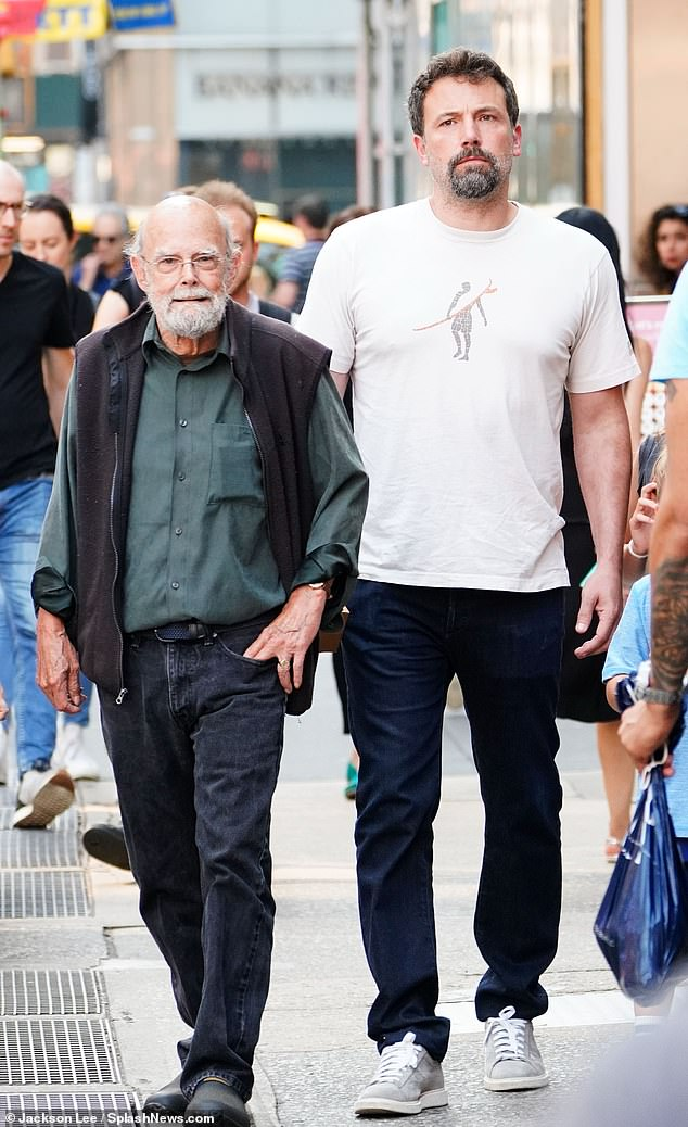 Ben Affleck's father Timothy has broken his silence on the actor's rekindled romance with Jennifer Lopez. Ben and Timothy are pictured here in New York in 2018