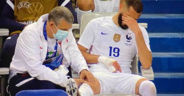 Karim Benzema looked in some pain after coming off during the friendly with Bulgaria
