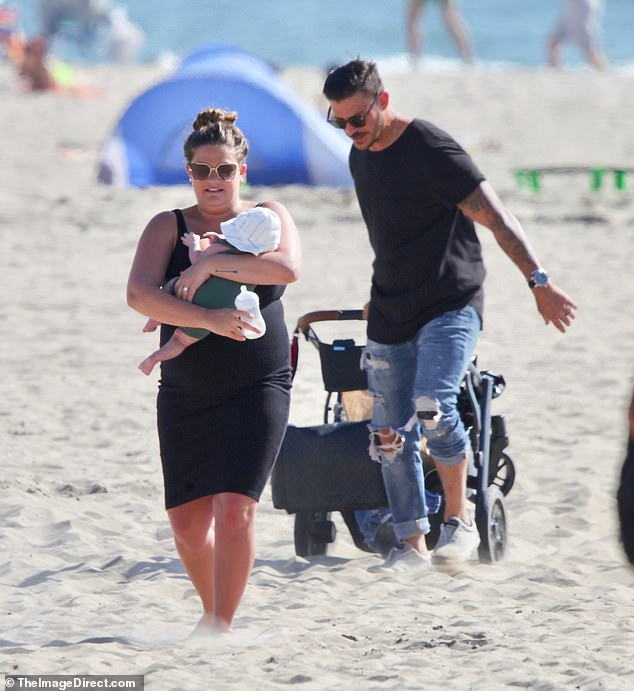 Baby's first beach day! Brittany Cartwright and Jax Taylor took baby Cruz for his first trip to the beach in Santa Monica on Saturday