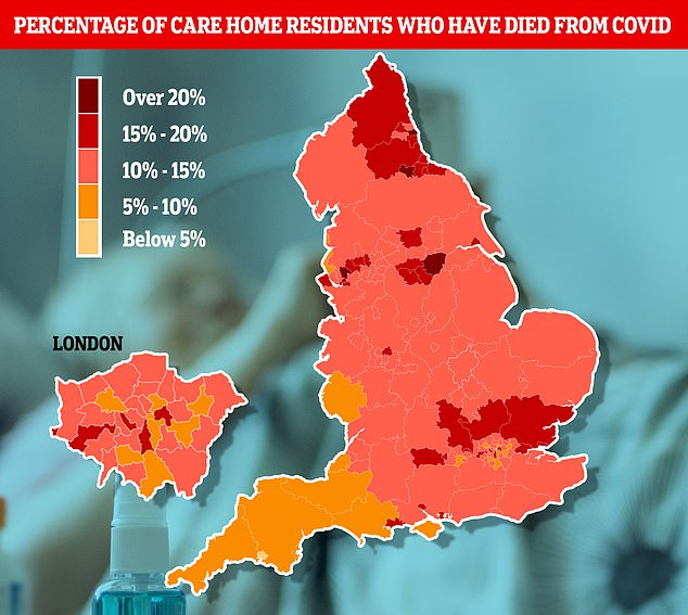 More than a fifth of care home residents have died of Covid in South Tyneside, Darlington, Doncaster and St Helens since the start of the pandemic, MailOnline analysis of Office for National Statistics data suggests