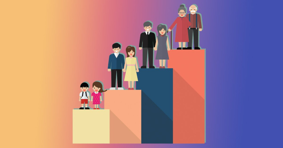 illustration of different generations