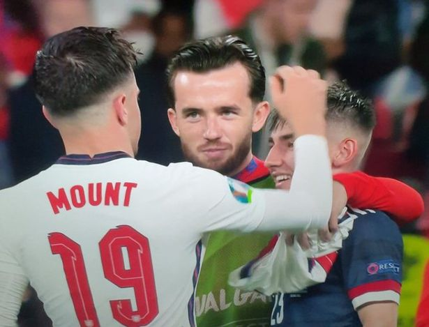Ben Chilwell, Mason Mount and Billy Gilmour embrace after England vs Scotland