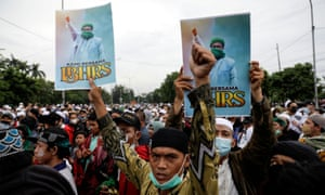 Protest supporting Rizieq Shihab in Jakarta, Indonesia.