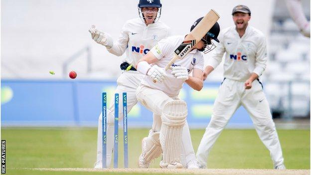 Ali Orr made 67 on his debut but was bowled by England spinner Dom Bess