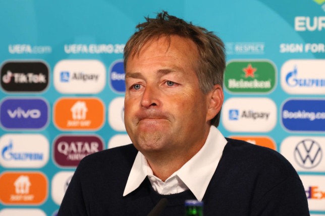 In this Handout picture provided by UEFA, Kasper Hjulmand, Head Coach of Denmark speaks to the media during the XX Press Conference after the UEFA Euro 2020 Championship Group B match between Denmark and Finland on June 12, 2021 in Copenhagen, Denmark.