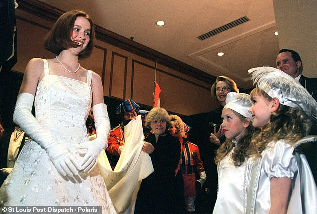 Ellie Kemperspoke out on Monday after a photo (above) of her being crowned the winner of the St Louis-based Veiled Prophet Ball when she was 19 years old started going viral on Twitter