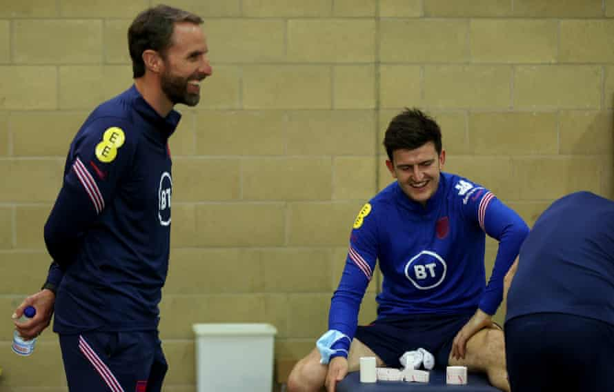 England's manager Gareth Southgate with Harry Maguire in Middlesbrough on Thursday.