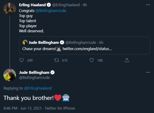 Erling Haaland sends message to Jude Bellingham after record-setting outing for England at Euro 2020
