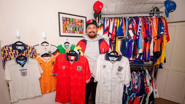 William with his retro shirt collection