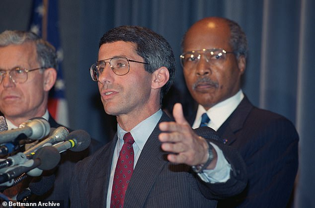 Dr Anthony Fauci first entered the public eye in the 1980s during the AIDS epidemic. Fauci was the target of derision from protesters as many felt inaction from the NIH was helping the virus spread. Pictured; Fauci speaks during a news conference in the 1980s