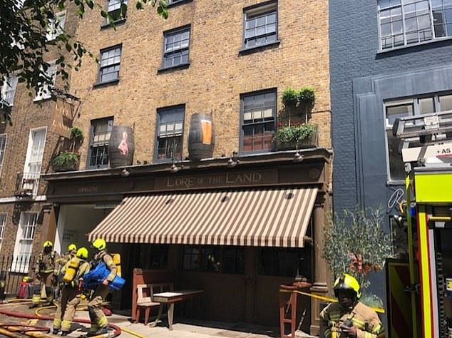 A blaze broke out at Guy Ritchie's Camden pub on Wednesday
