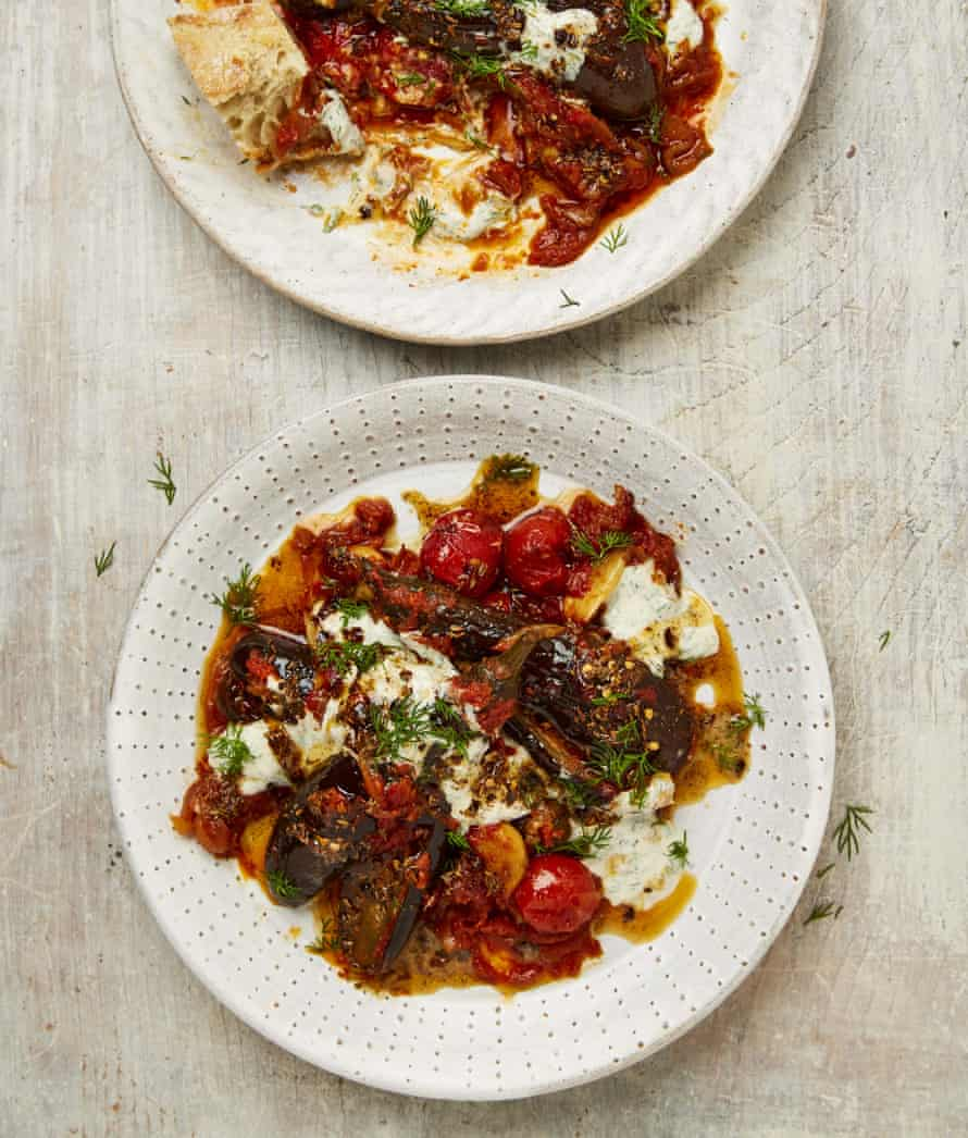 Yotam Ottolenghi's baby aubergines in tomato sauce with anchovy and dill yoghurt.