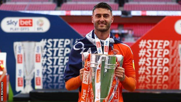 Gary Madine was a second half substitute in Blackpool's League One play-off final win against Lincoln at Wembley last month