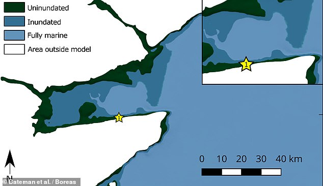 Researchers led from Sheffield University analysed and dated soil deposits left behind by the ancient tsunami to model the wave's impact on the Scottish coast. Pictured: the model of the Montrose basin showing the extent of the wave's inundation of the coast (in the darker blue)