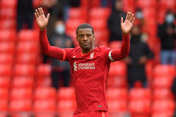 Gini Wijnaldum waved goodbye to the Liverpool fans after the win over Crystal Palace on the final day of the season