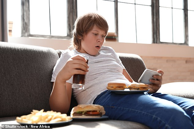 Even moderate smartphone use of three hours a day significantly increases the risk that teenagers will become overweight or obese, a study has warned (stock image)