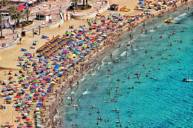 A crowded beach in Spain